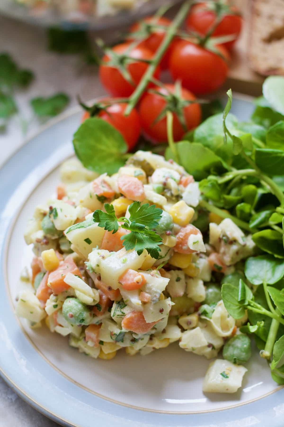 Russian Salad portion with watercress.