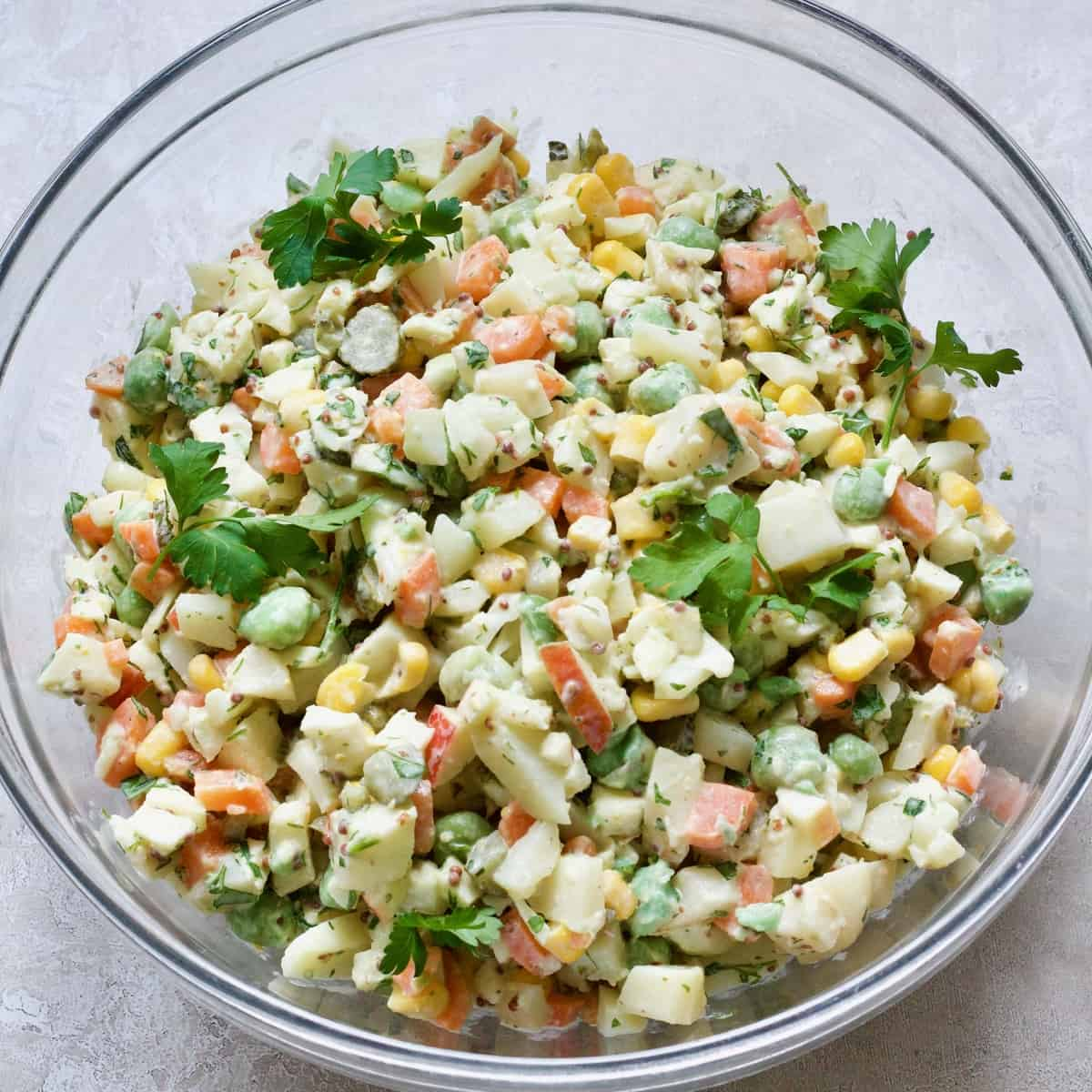 Russian Salad in a bowl ready to serve.