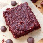Vegan beetroot brownie square close up.