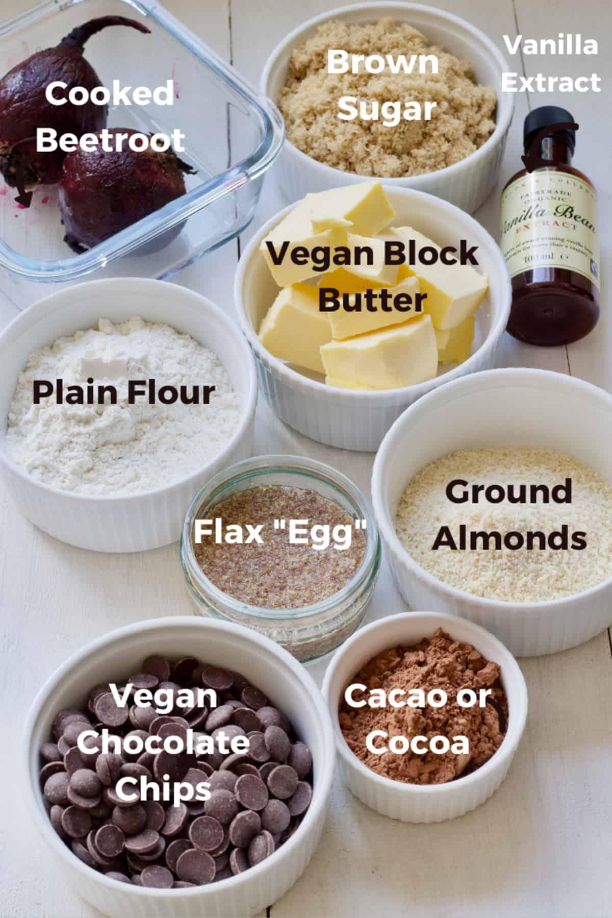 Ingredients to make vegan beetroot brownies.