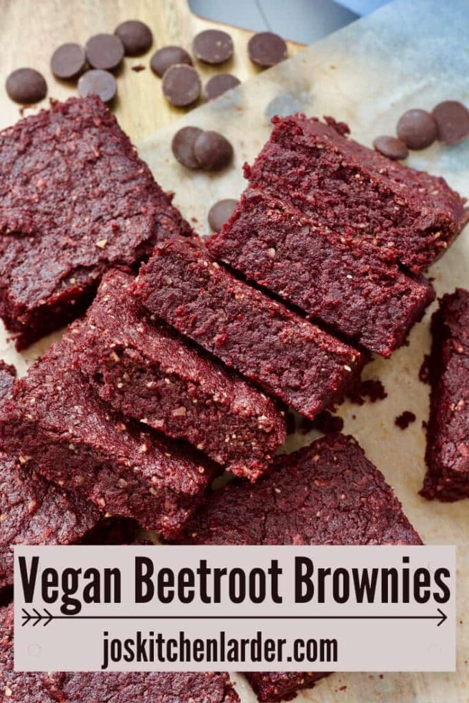 Squares of beetroot brownies laying on their side.