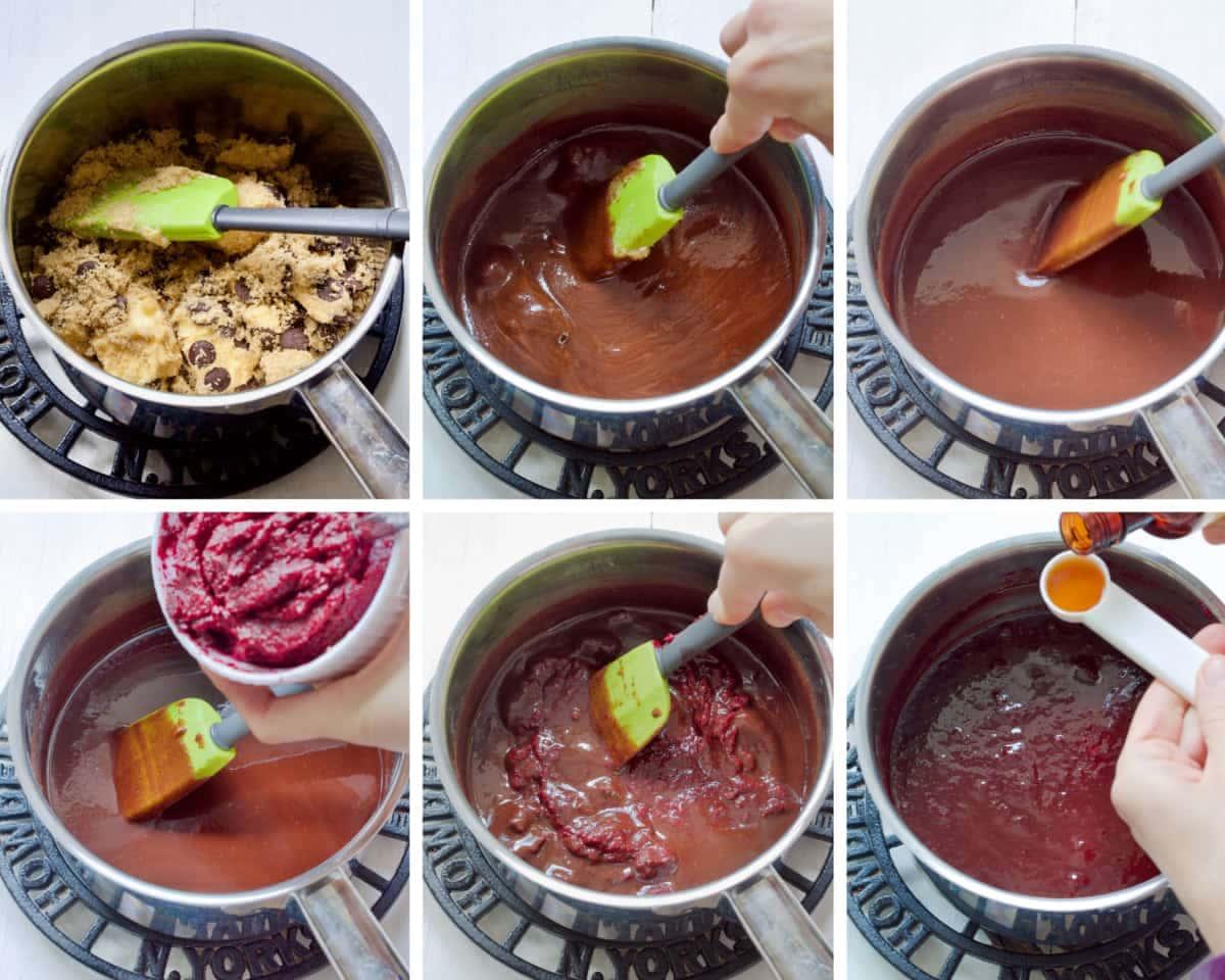 Process of preparing chocolate beetroot mixture.
